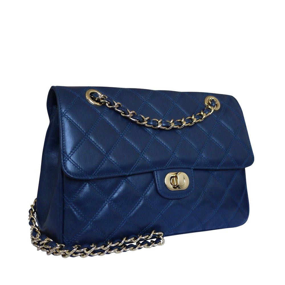 Carbotti Designer Quilted Leather Shoulder Handbag Celebrity Bag Wedding Bag - Blue