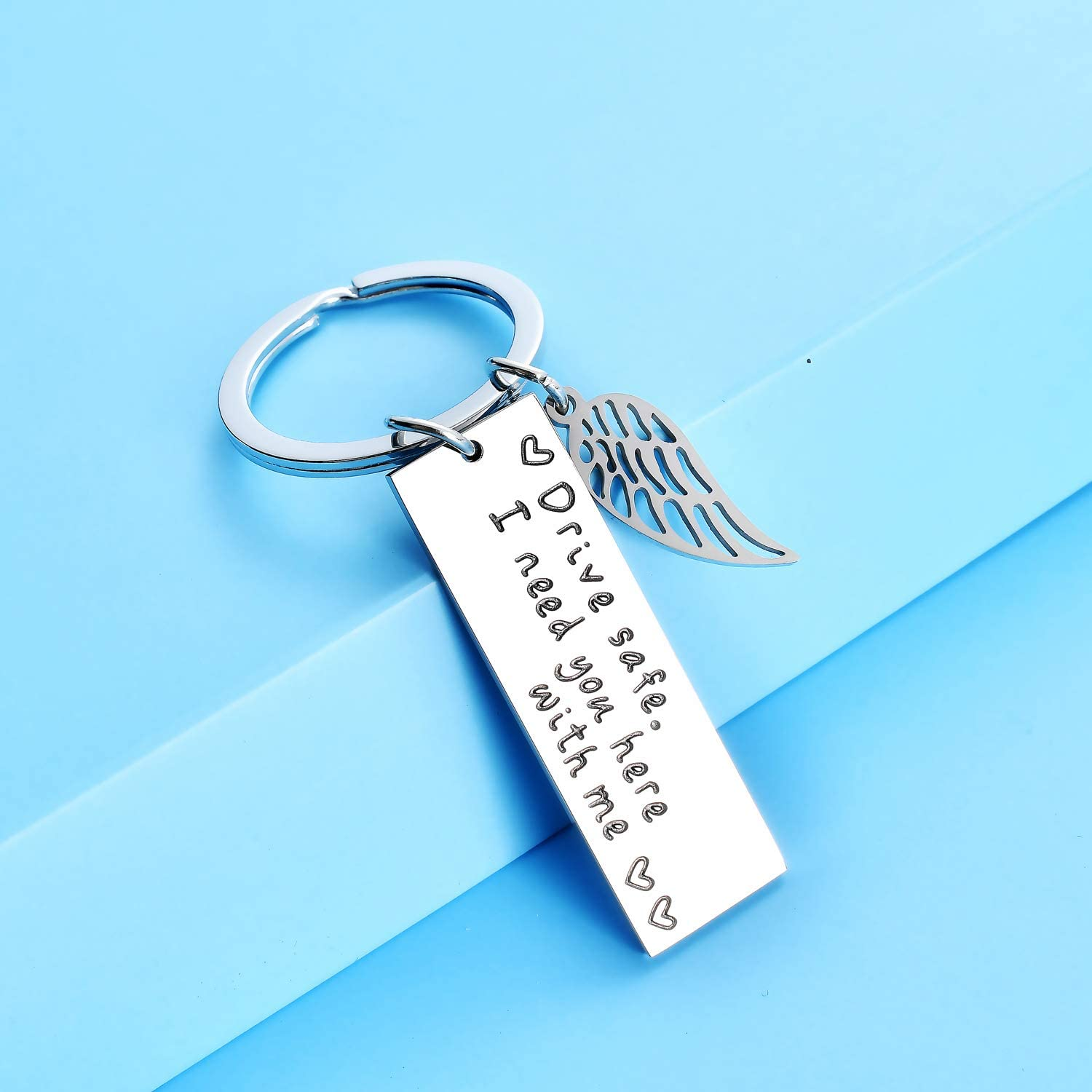 Style-1 Keychain Drive Safe I Need You Here with Me Keyring Gift for Men Trucker Husband Boyfriend Father