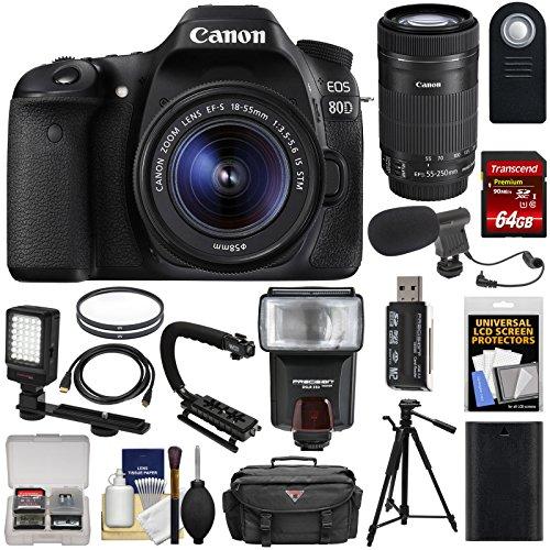 Canon EOS 80D Wi-Fi Digital SLR Camera & 18-55mm IS STM + 55-250mm IS STM Lens + 64GB + Battery + Case + Tripod + Flash + LED + Mic + Stabilizer Kit