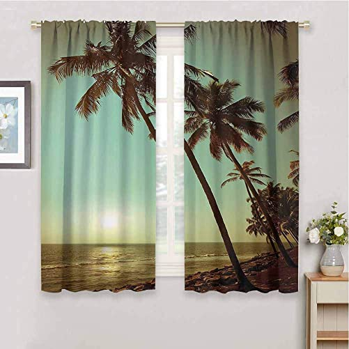 Palm Tree Decor Blackout Curtain Panels Window