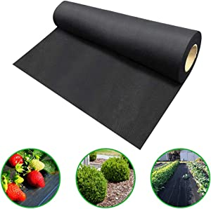 Agfabric 1.5oz 4x50ft Non Woven Weed Barrier Fabric Landscape Heavy Non-Woven Ground Cover for Gardening Mat and Raised Bed, Weed Control
