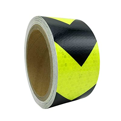 """2""""x 16.4' Industrial Aveolate HoneyComb Prismatic Pattern Conspicuity Reflective Arrow Design Safety Warning Caution Outdoor Tape Film Stickers Stripe for Truck Bus Guardrail Garage (Green-black): Automotive"""