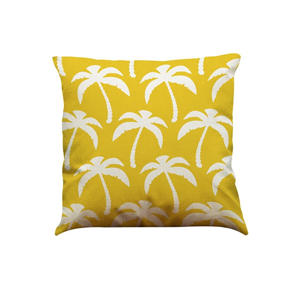 HLHN - Federa copricuscino a motivi geometrici di colore giallo, in lino e di forma quadrata, per cuscini del divano di casa, camera da letto, ufficio, bar, auto A