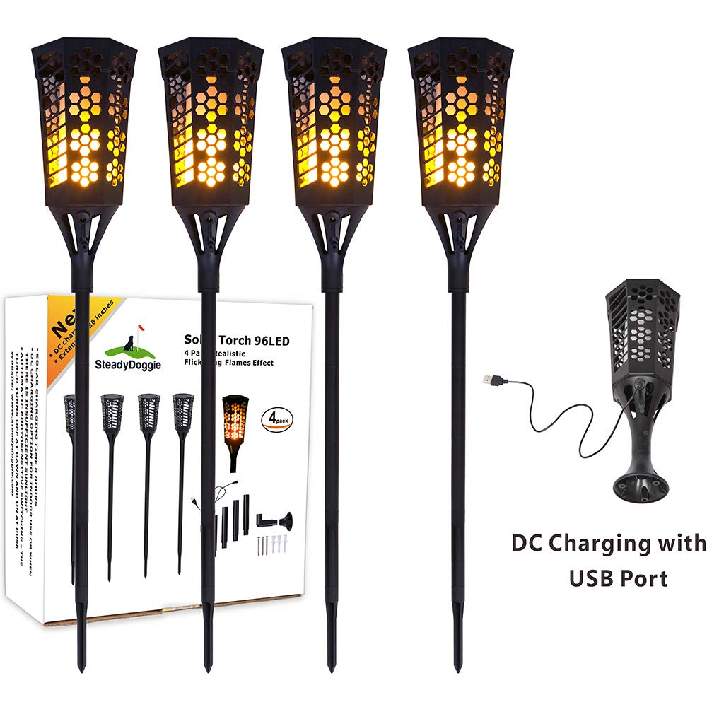 Flickering Flame Solar Torch Landscaping Light Kit (4 Pack) DC Charging - Extra Long (36in) & L Mounts - Hi-Capacity Battery, Dusk-to-Dawn Accent Lighting for Garden Deck Patio Path Yard or Driveway