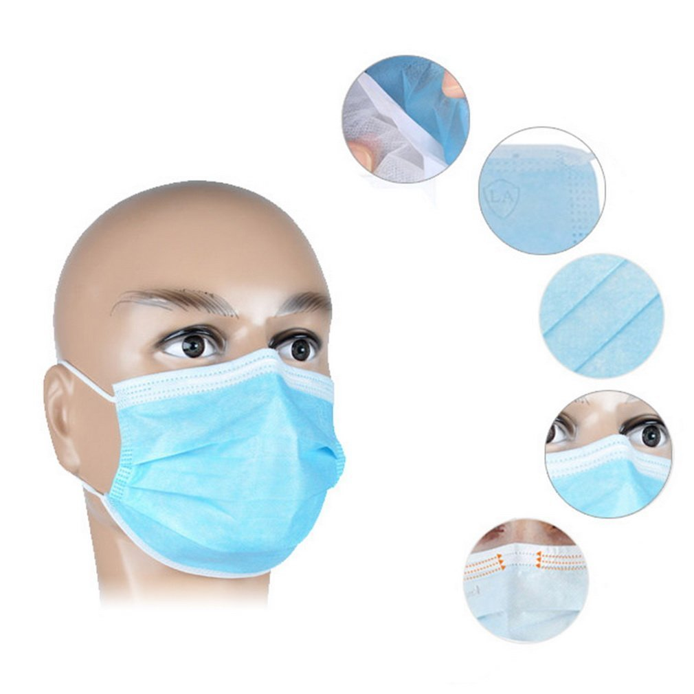 Tcplyn Premium Quality 50Pcs Disposable Medical Dustproof Surgical Face Mouth Masks Ear Loop Anti-dust Elastic Health Beauty