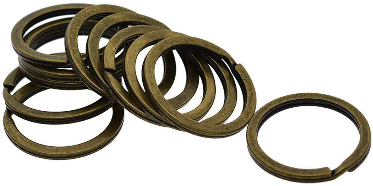 Morning May Lot de 20 Anneaux Porte-cl/és pour Organisation des cl/és Argent/é//Bronze//cuivre 32 mm