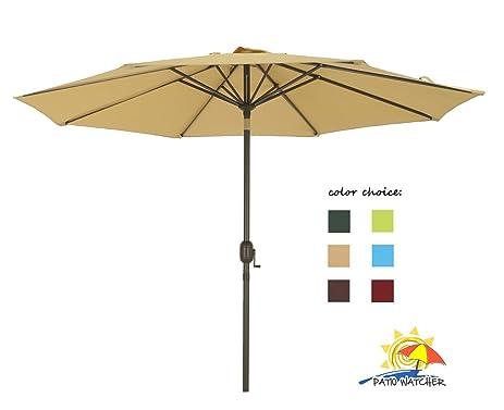 Patio Watcher 9 Ft Aluminum Patio Umbrella With Push Button Tilt And Crank,  250