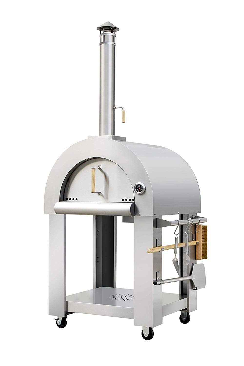 Thor Kitchen Pizza Oven Outdoor, Stainless Steel Wood Fire Pizza Oven Grill for Outdoor or Indoor - with Wire Brush/Broom, Large Pizza Peel (Large Spatula), Pizza Turner Spatula and Pizza Cutter