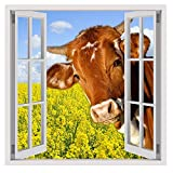"Alonline Art - A Cow On The Field Fake 3D Window VINYL STICKER DECAL 24""x24"" - 61x61cm Adhesive Vinyl Decal For Home Decor Wall Stickers For Kitchen For Bedroom Vinyl Wall Decal Artwork"