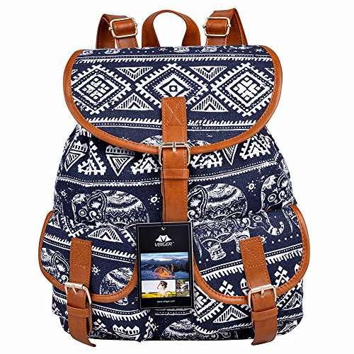 Vbiger Canvas Backpack for Women & Girls Boys Casual Book Ba