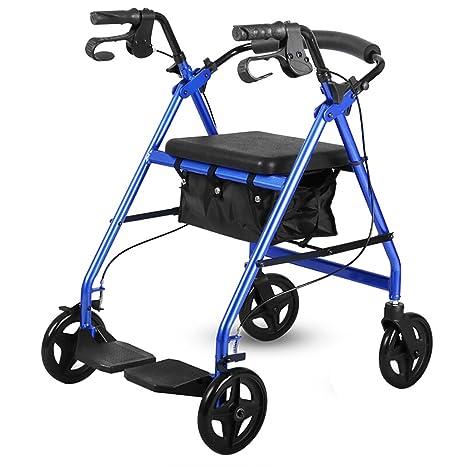 Peaceip Sillas de ruedas plegables, aleación de aluminio, personas mayores con discapacidades, carros