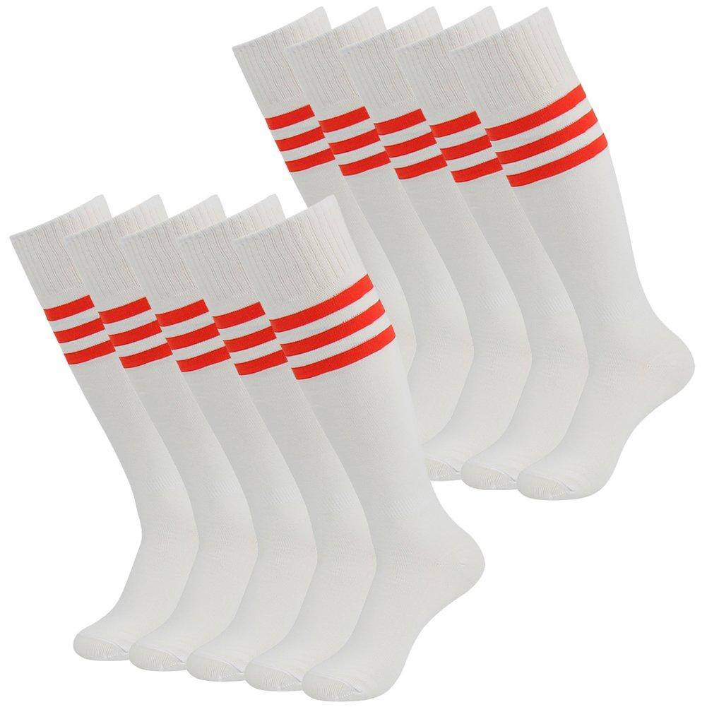 3street ユニセックス ニーハイ トリプルストライプ アスレチック サッカー チューブ ソックス 2 / 6 / 10組 B01HLZ5J9I 01#white+red Stripe 01#white+red Stripe
