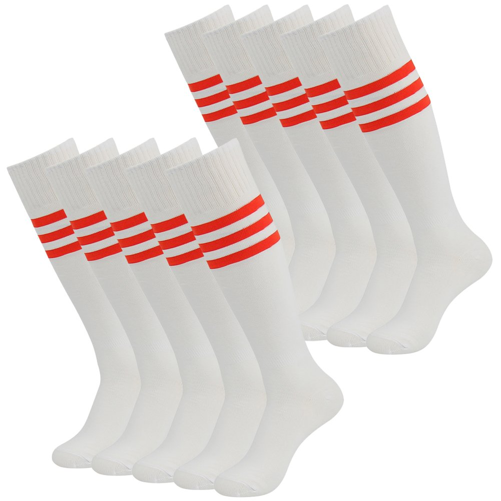 Soccer Socks Adult Three street Unisex Youth Over Knee High Athletic Moisture Wicking Comfort Sport Game Tube Socks White Red Stripe 10 Pairs Size 7-13 by Three street