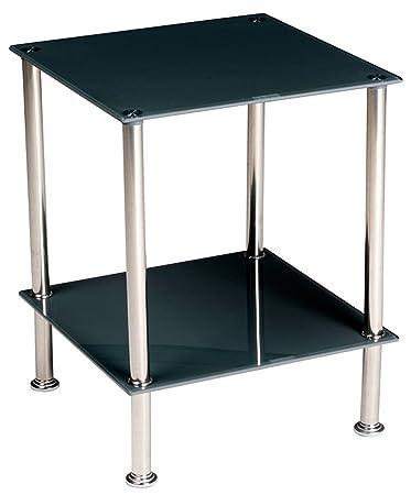 Stylehome Tavolino in vetro temperato e acciaio quadrato da salotto ...