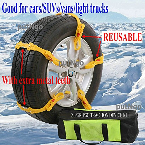 putNgo Reusable Adjustable zip grip go snow tire chains for