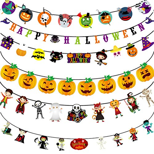 Pennant Flags Banner Halloween Garland Decorations Pumpkin Banner Flag