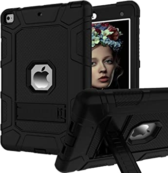 Amazon Com Ipad 6th Generation Cases Ipad Case Ipad 9 7 Inch Case Hybrid Shockproof Rugged Drop Protection Cover Built With Kickstand For Ipad 9 7 Inch A1893 A1954 A1822 A1823 Black Computers Accessories
