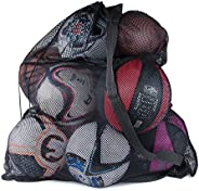 Large Nylon Mesh Drawstring Sports Equipment Ball Bag Sack with Shoulder Strap for Practice, School Class, Bea