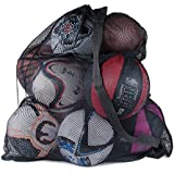 "Sports Ball Bag Drawstring Mesh - Extra Large Professional Equipment with Shoulder Strap Black (30"" x 40"" Inches)"