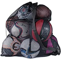Sports Ball Bag Drawstring Mesh - Extra Large Professional Equipment with Shoulder Strap Black (30
