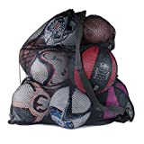 Sports Ball Bag Drawstring Mesh - Extra Large Professional Equipment with Shoulder Strap Black (30' x 40' Inches)