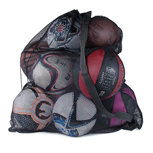 "Super Z Outlet Sports Ball Bag Drawstring Mesh - Extra Large Professional Equipment with Shoulder Strap Black (30"" x 40"" Inches)"