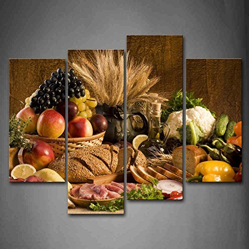 First Wall Art Modern 4 Panels Canvas Fresh Fruit On The Table Kitchen Wall Art Painting The Picture Print On Canvas Food Pictures Colorful