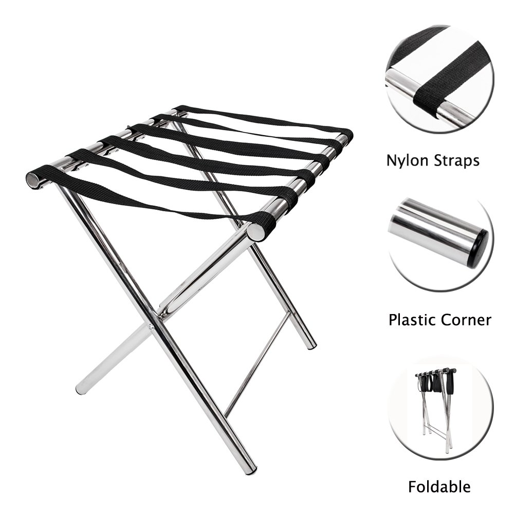 St.CHIU Luggage Rack, Folding Metal Suitcase Stand Bag Storage Shelf Holder with Nylon Belt for Travel Home Guestroom Bedroom Hotel (Style A)