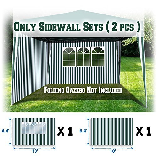BenefitUSA Sidewalls 10'X6.4' SIZE FOR Tent Outdoor Pop Up Canopy Gazebo Marquee (Green with White) by BenefitUSA