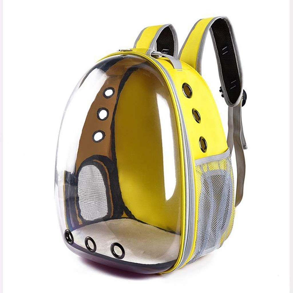 Dongyd Pet carrier Cat Dog Puppy Backpack Breathable Bubble Transparent Space Capsule Shoulder Bag Outdoor Pet Travel Carrying Handbag,Yellow