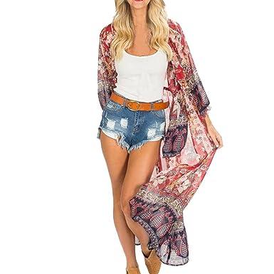 d670a3a3f16 Sixcup Women Floral Bohemian Puff Long Sleeves Sheer Chiffon Kimono  Cardigans Blouse Swimwear Bikini Cover Ups  Amazon.co.uk  Clothing