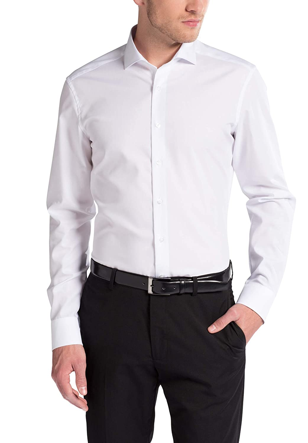 TALLA W40, Longitud manga larga. Eterna Long Sleeve Shirt Slim FIT Poplin Uni
