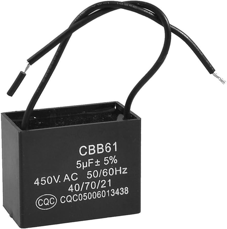 TOOGOO(R) No Polar AC 450V 5uF Condensador de funcionamiento del motor del ventilador de techo alambrado CBB61