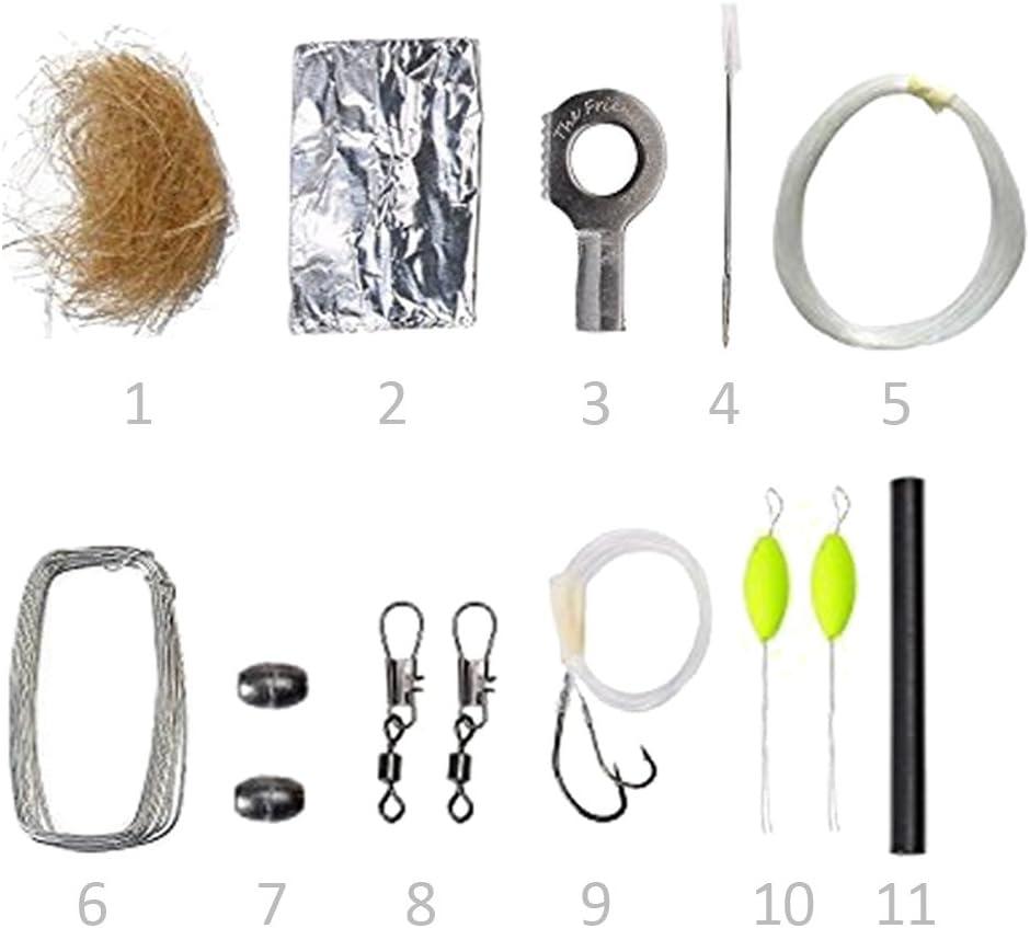 The Friendly Swede - Kit de supervivencia: aguja, alambre, gasa con alcohol, papel de aluminio, yesca, encendedor de fuego, flotadores, pesos, ...