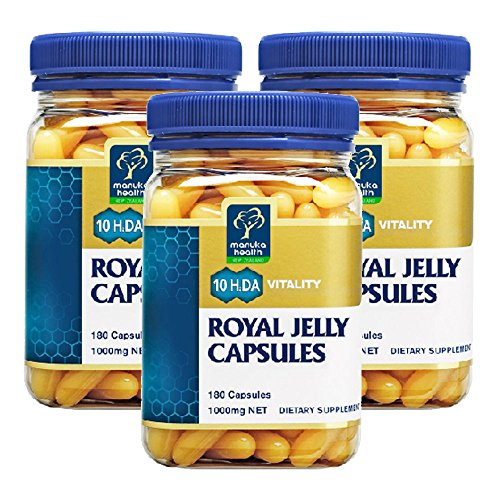 Manuka Health 10hda Royal Jelly 1000mg 180 Capsules 100% Pure New Zealand Royal Jelly Immune System Booster & Supports Skin Health & Vitality (Pack of 3) by Manuka Health