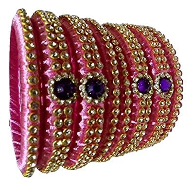 21020b2ded1 Buy Silk Thread Bangles - Baby Pink Bangle Set with Grand Storne work (8  Bangles) (2.6) Online at Low Prices in India   Amazon Jewellery Store -  Amazon.in