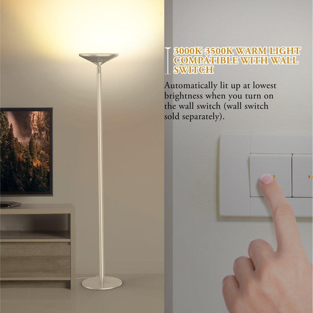 LED Standleuchte LED Stehleuchte 30W,3000K Warmes Licht,3800 Lumen,74 inch,30 Minuten Timer,5 Helligkeitsstufen,Touch-Bedienung Avantica Stehlampe LED Dimmbar mit Leselampe