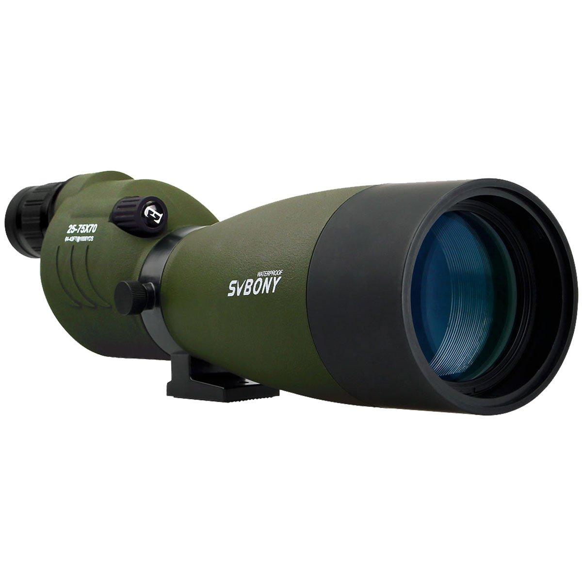 SVBONY SV17 Spotting Scope 25-75x70mm Zoom Telescope Bak4 Waterproof Straight Scope for Bird Watching Target Shooting Archery Range with Soft Carry Case
