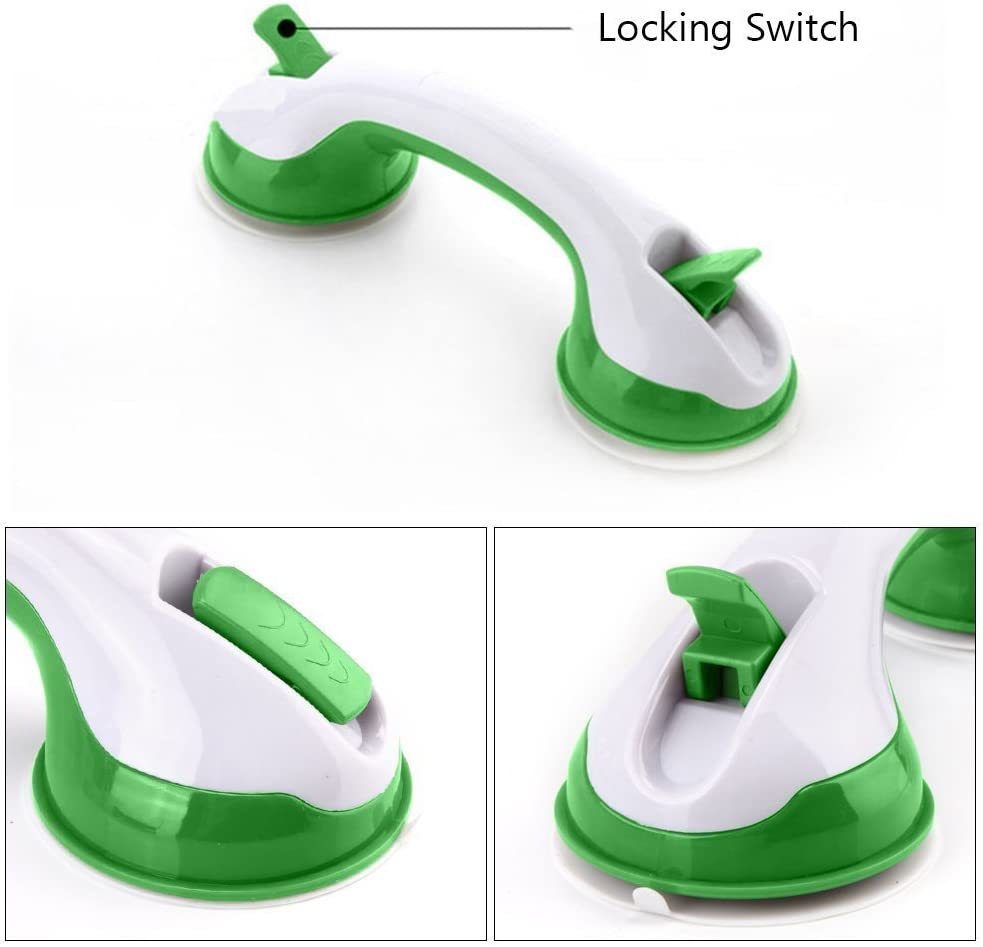 White + Green EasyinSmile Suction Bath Shower Grab Bars Blacnce Assist Grip Handle