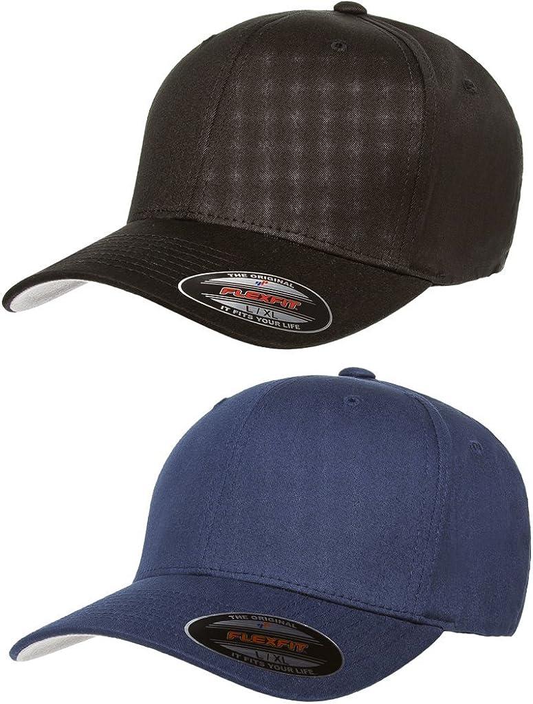 Flexfit 2-Pack Premium Original Cotton Twill Fitted Hat w/THP No Sweat Headliner Bundle Pack