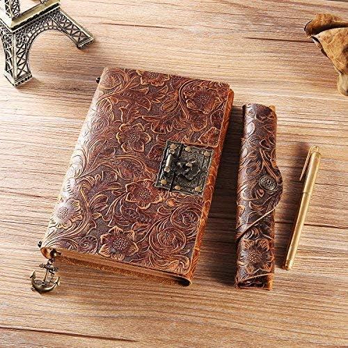 regalo perfetto diario di viaggio e libro con serratura L- R-Marrone-fiore ScrodCat Quaderno in pelle con rilegatura in pelle anticata per uomini e donne formato medio 19 x 14 cm