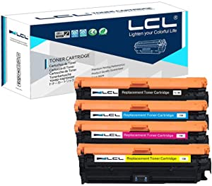 LCL Remanufactured Toner Cartridge Replacement for HP 650A CE270A CE271A CE272A CE273A CP5525 CP5525dn CP5525n CP5525xh M750dn M750n M750xh (4-Pack Black Cyan Yellow Magenta)