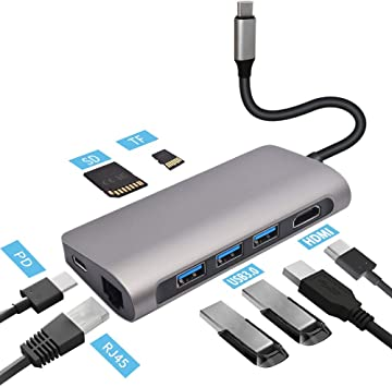 8-in-1 Type C Hub with 3 USB 3.0 Ports,SD//TF Card Reader,Adapter for Mac Pro
