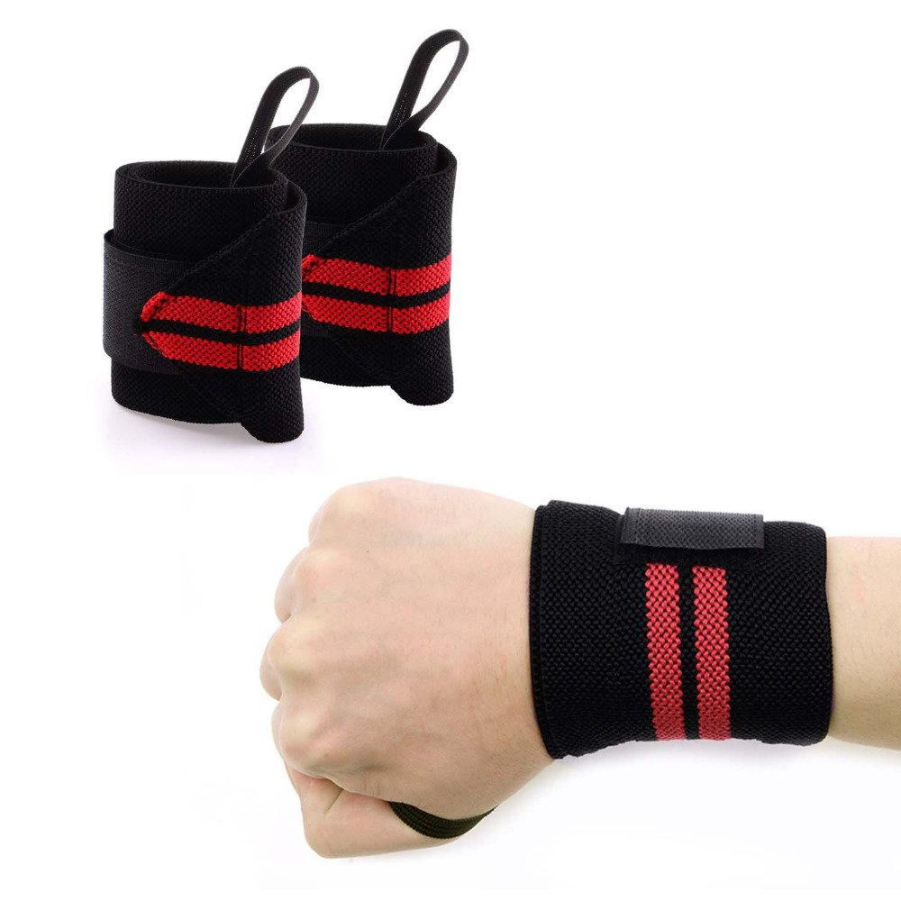 Wrist Wrap - With Thumb Loop Strength Wrist Straps Support For Powerlifting, Bodybuilding, Weight Lifting, Gym, Cross Training, Crossfit, Workout, 1 Pair Average Black/Red by Perspolis
