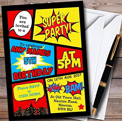 10 x Boys Superhero Comic Personalized Childrens Birthday Party Invitations]()