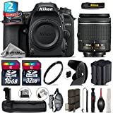 Holiday Saving Bundle for D7500 DSLR Camera + AF-P 18-55mm + Battery Grip + 2yr Extended Warranty + 32GB Class 10 Memory + Backup Battery + 16GB Class 10 + Wrist Strap - International Version