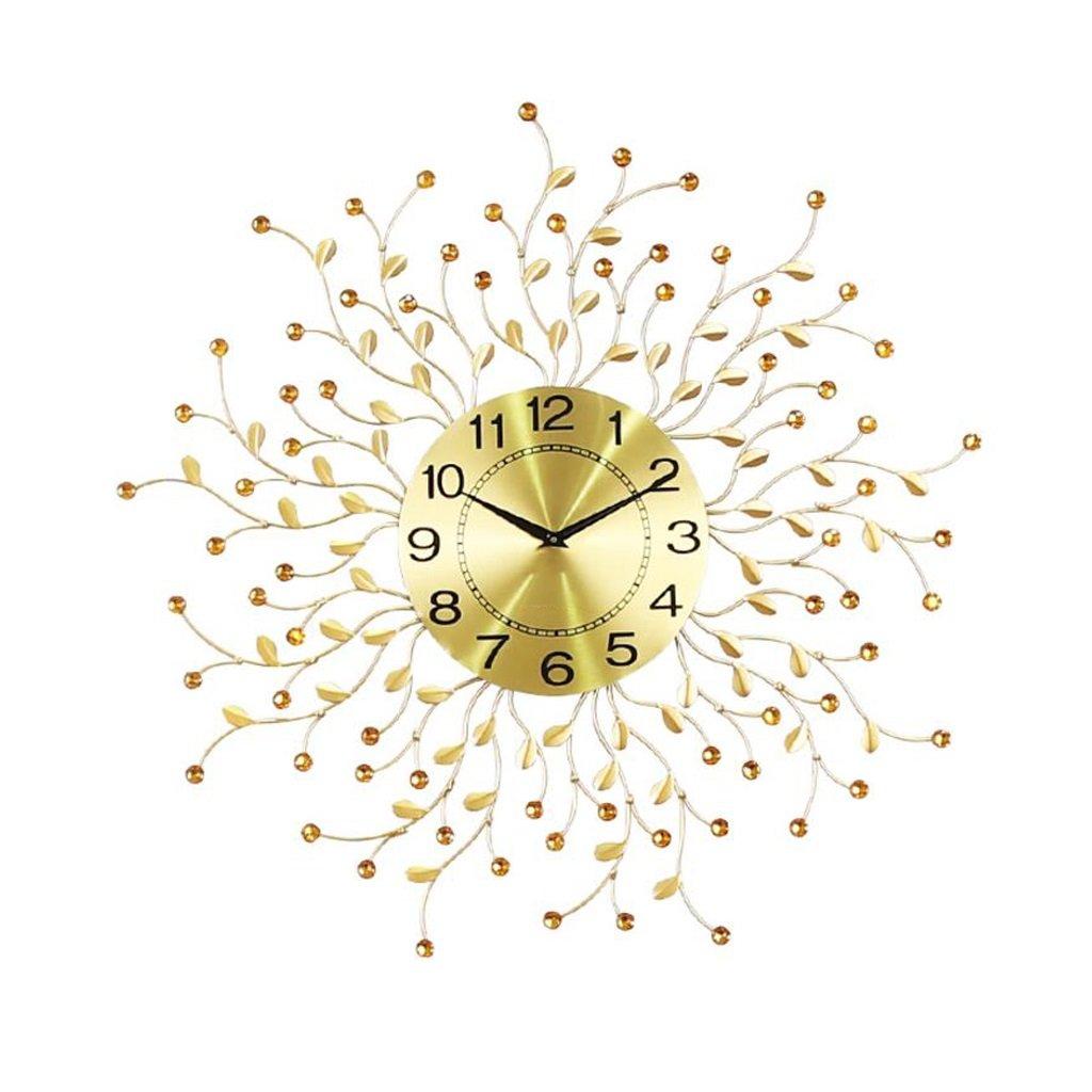 掛け時計 ウォールクロック モダンミニマリストアイアンアートラウンドミュートウォールクロックベッドルームリビングルームゴールデンカラーの葉装飾的な壁時計 B07BK34FPF