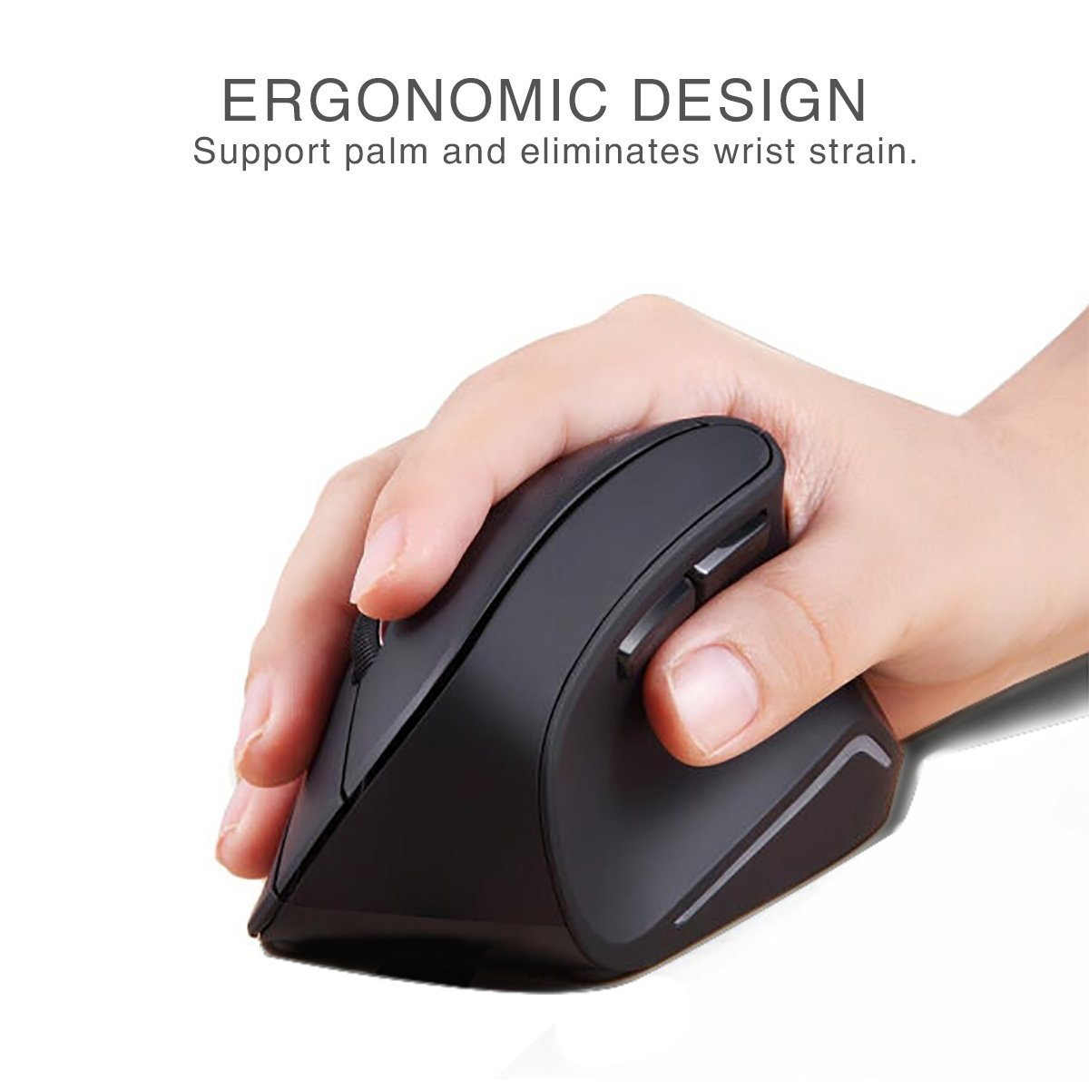 d94f3a4ee4f Amazon.com: Velocifire 2.4G Wireless Vertical Ergonomic Optical Mouse,Adjustable  DPI 1600 / 800 / 1200 with 6 Buttons Black EVM02 (Certified Refurbished):  ...