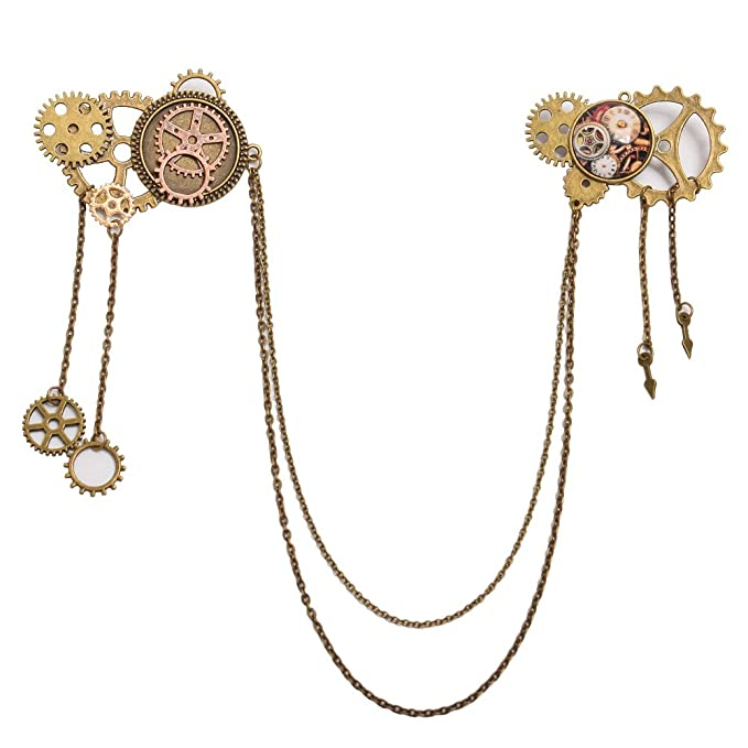 Steampunk Jewelry – Necklace, Earrings, Cuffs, Hair Clips BLESSUME Unisex Steampunk Brooch Lapel Pin $12.99 AT vintagedancer.com
