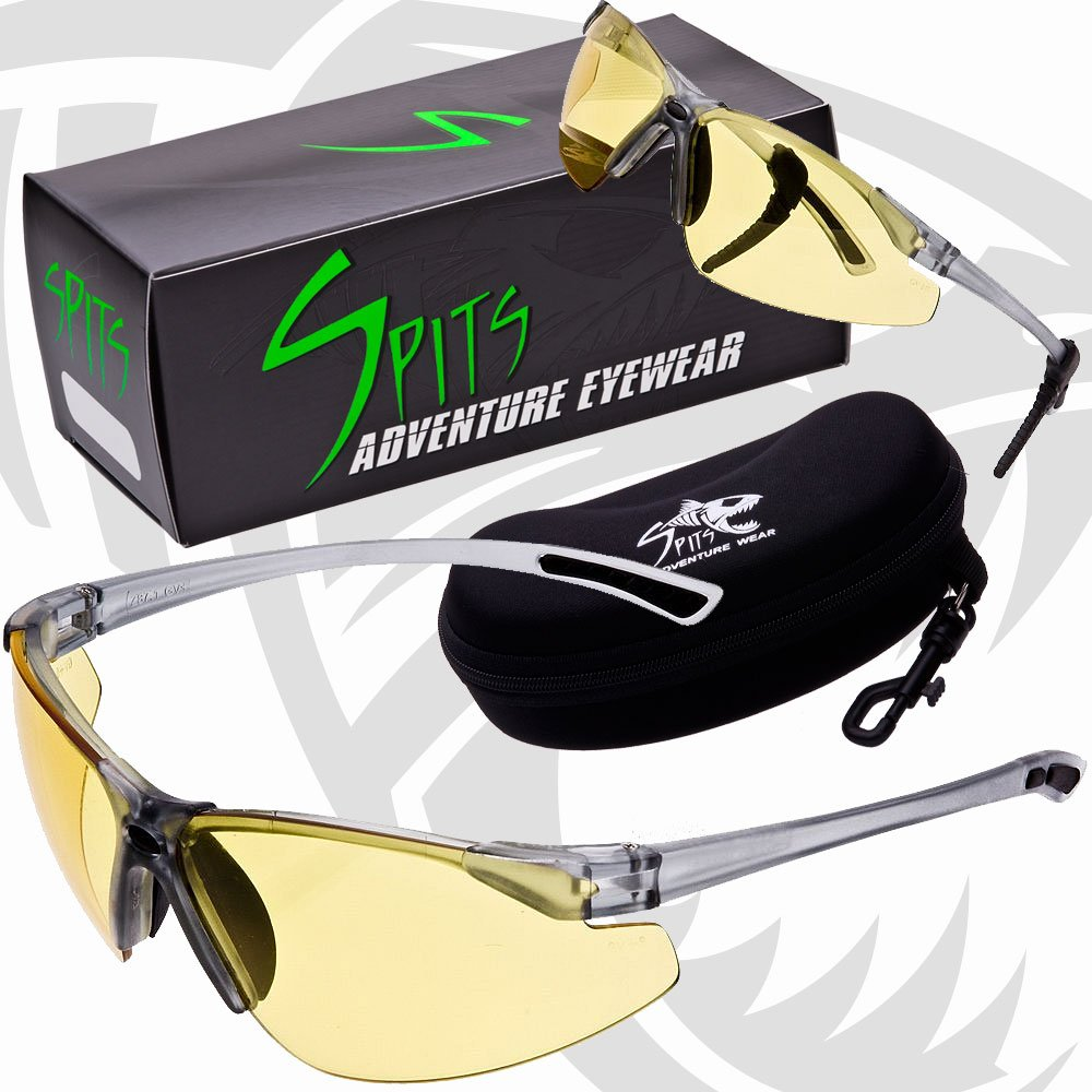 NEW! REACTOR - Photochromic Safety Glasses UV400 Z87.1 OSHA Compliant - Transitions From High Contrast Yellow to Dark Green by Spits Eyewear